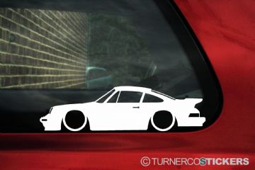 2X Lowered Porsche 911 (930) TURBO 80´s classic car outline STICKERS decal